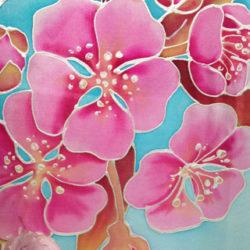 Jessica Kemp - Cherry Blossom Silk Painted Fan SQ